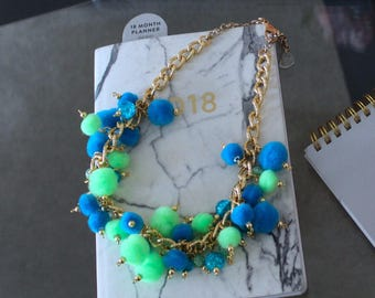 Blue & Green Pom Pom Necklace