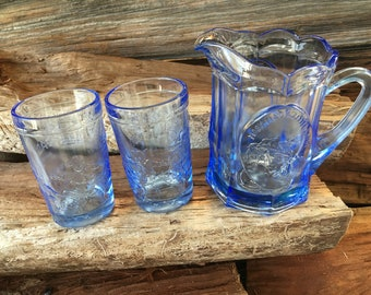 Vintage, Tiara Glass, Nursery Rhyme Pitcher, Blue Glass, Mary Had a Little Lamb, Jack and Candlestick with (2) Jack and Jill Glasses,