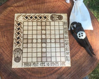 "READY TO SHIP! - Hnefatafl Game: Portable folding ""Lapland Tablut Tafl"", Traditional Board Game, handcrafted; traveling game w/ antler pawns"