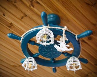 nautical chandelier / wooden chandelier / sea Chandelier / Ceiling Light / Chandelier helm