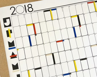 2018 A1 Year Planner Wall Calendar Chart Organiser - Modernist De Stijl Primary Colours Large Graphic print