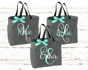 Personalized Bridal Tote Bag, Bridesmaid Tote Bag, Maid of Honor Tote Bag, Monogrammed Tote Bag (BR031)