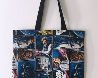 Fully Lined Handmade Retro Style Fabric Star Wars Cotton Shopping/Beach Tote Bag