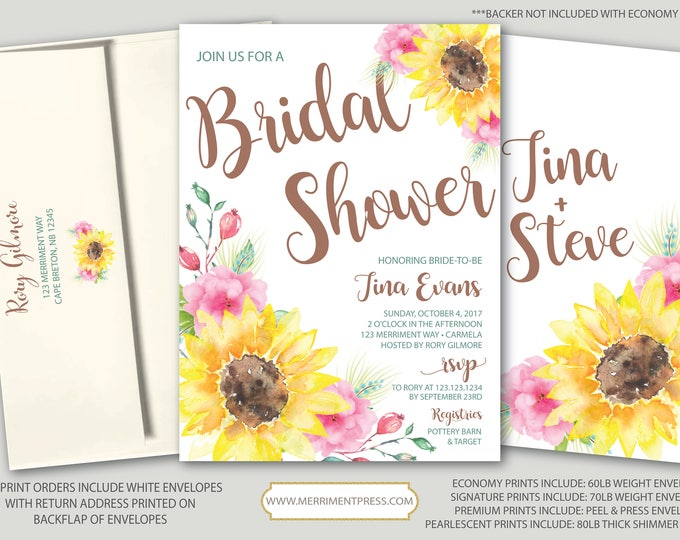 Rustic Sunflower Bridal Shower Invitation // Fall in Love // Fall Bridal Shower Invitation // Yellow // Pink // TUSCANY COLLECTION