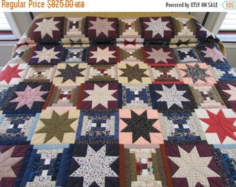 ON SALE: Stars Over The Cabin Quilt, Patchwork Quilt, Multicolor Quilt, Amish Quilt, Hand Made Quilt, Star Quilt,Log Cabin Quilt,Queen Size