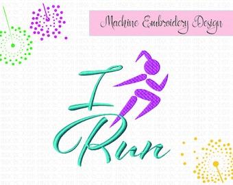 I Run, runners design, embroidery design, girl running, sports design, jogger 4x4, 5x5, 5x7 , #889
