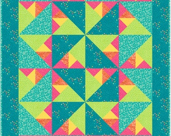 Whirlwind Quilt Pattern made with triangles - INSTANT DOWNLOAD
