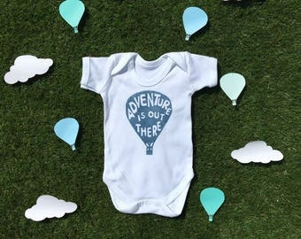 Adventure is Out There in Indigo 100% Organic Cotton Bodysuit - Adventure Onesie - Blue Baby Boy Baby grow - Adventure Baby Clothes