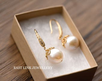 24K gold plate baroque authentic pearl oval drop dangle hook drop earrings wedding gift