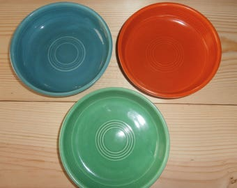 Vintage kitchen pottery Fiestaware fruit berry bowls choice of 3 turquoise  green  red (orange) fiesta ware