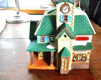 """Christmas Village House Holiday Expressions Ticket Station - 6"""" W x 6.5"""" T - Free Shipping"""