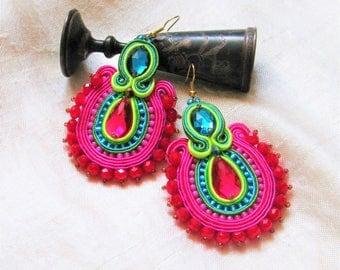Soutache Earrings,Big folk earrings  ,soutache jewelry in ethnic, 100% handmade,pastels