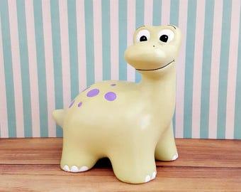Green and Purple Dinosaur Piggy Bank, Dinosaur Piggy Bank, Brontosaurus Piggy Bank, Bank, Dino Bank, Baby Bank, Dinosaur Nursery Decor,
