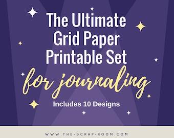 Bullet Journal Grid Printables - 10 Designs Included-Plus FREE Journal Sticker Printable set!