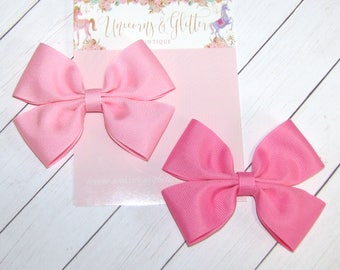 Pink Bow, -- You Choose Color-- PINK or BUBBLEGUM PINK --  Pink Hair Bow, Light Pink Bow, Hair bows for Girls, School Hair Bow
