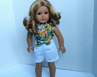 "Shorts and blouse made to fit like American Girl doll clothes and other 18"" dolls"