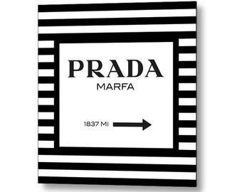 Prada Marfa Metal Wall Art, Fashion Decor, Fashion Illustration, Glam Decor, Bedroom Wall Decor, Living Room Wall Art, Gifts for Her