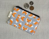 Coin Purse - Fox - Geometric - Change Purse - Card Wallet - Gift - Gray - Cute Coin Purse - Card Case - Zipper Bag