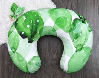 Boppy pillow cover with zipper. Organic nursing pillow cover. Green cactus watercolor prickly pear. Gender neutral (#0287)