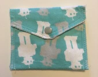Blue Robots flannel card pouch