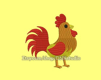 Rooster Embroidery Design - 6 Sizes - INSTANT DOWNLOAD