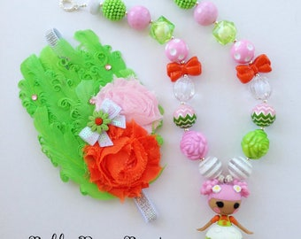 Lalaloopsy Blossom Flowerpot Lime Green/Orange/Pink/White Chunky Bead Necklace, Bubblegum Necklace & Headband for Girls