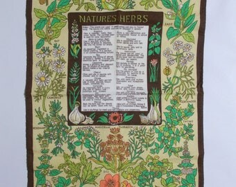Natures Herbs Linen Tea Towel Wall Hanging Vintage Kitchen Decor Pat Chambers