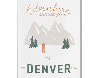 Letterpress Denver Colorado Card, Postcard Style, vintage retro mid century, Souvenir, Rock Climbing, Camping, Hiking, Adventure Awaits