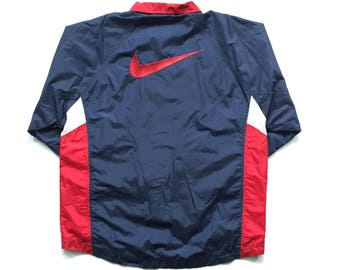 90s Nike Air big swoosh full zip button up windbreaker jacket big check size large