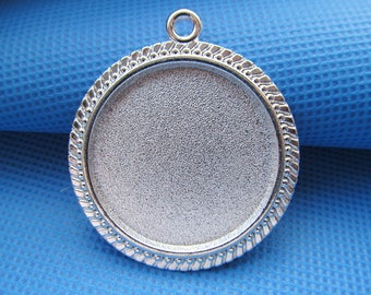 Silver Plated Round Blank Base Setting Tray Bezel Pendant Charm/Finding,Teeth Border,fit 30mm Round Cabochon/Cameo,DIY Accessory Jewelry