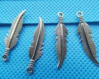 7mmx27mm Antique Silver tone Filigree Delicated Cabinet Feather Pendant/Hanging Charm/Finding,DIY Accessory Jewellry Making