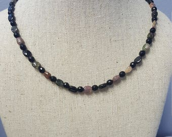 Dainty yet Powerful Multi Colored Tourmaline and Agate Necklace!