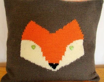 Hand-knitted pillow in color mole with a head of fox and fabric(tissue) matched on the back: dimension(size) 38x38 cm