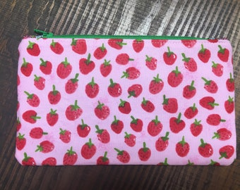 Strawberry Zip Pouch - Makeup Bag