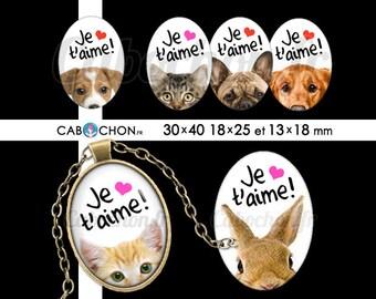 Je t'aime 5  • 45 Images Digitales OVALES 30x40 18x25 13x18 mm amour saint valentin animaux chat chien lapin souris coeur mignon