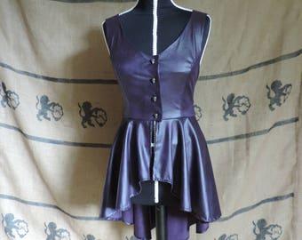 "Jacket, over-dress ""Johanna"", plum color suedette, leather imitation, skull buttons"
