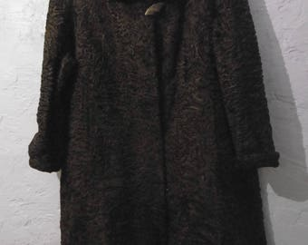 Stunning vintage Astrakhan, Persian lamb coat. c1960 beautiful condition. 22-24