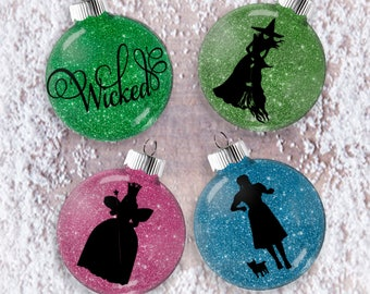 Wizard of Oz Glitter Ornament,  Shatter Resistant Glass, Collector Gift Set, Dorothy Glinda Wicked Witch, Emerald City, Wicked the Musical