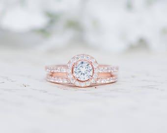 Rose Gold Round Halo Ring - Sterling Sliver Ring - Engagement Ring Set - Round Cut Ring - Halo Engagement Ring - Wedding Ring