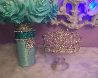 Quinceniera mint color bouquet, silver crown