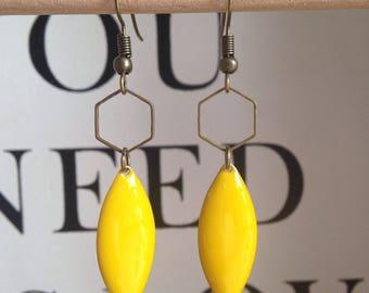 Earrings bronze yellow sequins