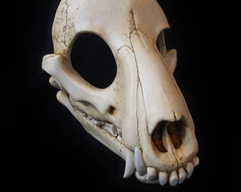 Wolf Skull Mask - Full - Bone Painted