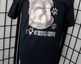 I love My Brussels Griffon - dog lover t-shirt Small black cotton tee - Makes a great gift!
