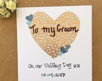 Groom card wedding day card bride card on our wedding day greetings card personalised