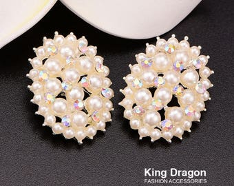 Rhinestone Pearl Buttons Used On Headband DIY With Loop 1INCH 20pcs/lot Shank Back Silver Color KD120