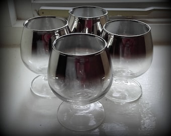 Vintage 50's Silver Ombre Dorothy Thorpe style Cordial or Sherry glasses