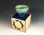 Tea Bowl 3 of 100 in Green and Blue Crystalline Glaze in a Maple & Blue Stained Oak Hardwood Box - One Hundred Series. 3 in tall, Food Safe.
