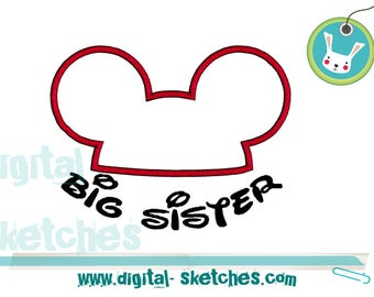 Mickey Mouse Ears, Applique, Big Sister, Machine Embroidery Design - 3 Sizes