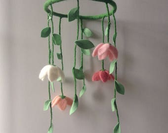 Needle felted flower mobile, nursery mobile