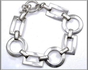 Vintage Sterling Silver Geometric Bracelet with Large Rectangle and Circle Chain Links, Toggle Clasp